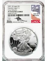 2021 W NGC PF 70 UC Proof American Silver Eagle John Mercanti Signed ER