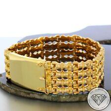 Wert 4.900,- Breites Armband 750/18 Karat Gelbgold mit Gravurplatte 21,5 cm