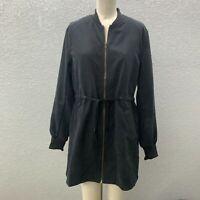NWT Mind Code Zip Up Jacket Women's L Black Lined Long Sleeve Drawstring Waist