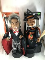 """Vintage 1980s TELCO Animated 17"""" MOTIONETTE Halloween Figure Witch Butler Pair"""