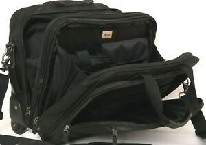 Hartmann Black Expandable Rolling Carry-On Luggage Nylon Bag Wheeled Briefcase