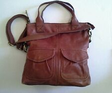 Vintage Fossil Brown Cargo Leather foldover crossbody bag