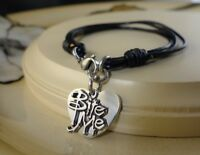 FORD love snap button Black leather Bracelet jewelry gifts women girls
