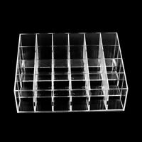 Clear Acrylic 24 Lipstick Holder Display Cosmetic Organizer Makeup Case Storage