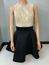 Philip Armstromg Lace & Black Skater Dress Size Uk 8 / 10 VGC Sleeveless