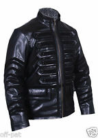 Mans 100% REAL LEATHER Black Steampunk Jacket Military Tunic  All Sizes