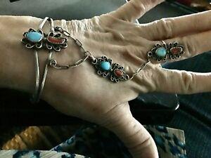 Vtg. Navajo Signed KC Sterling Silver Turquoise/Coral Slave Bracelet Cuff & Ring