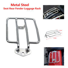 Chrome Metal Steel Motorcycle Scooter ATV Solo Seat Rear Fender Luggage Rack Kit