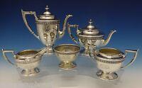 Durgin Sterling Silver Tea Set West Point 1919 5pc w/Acanthus Leaf Border #0465