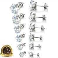 Surgical 316L Stainless Steel Stud Earrings Cubic Zircon Round Men Women 2PC