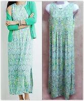 J. Jill Empire waist Maxi dress Petite Small blue green print NEW