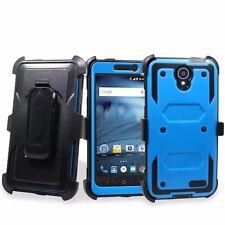 For ZTE Phone Models Hybrid impact Case Built in screen Belt Clip Holster Cover