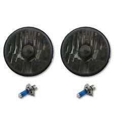 "5-3/4"" Crystal Smoked Halogen Headlight Metal Headlamp 60/55W Light Bulbs Pair"