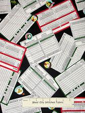 Golf Scorecard Toss Golfing Themed Cotton Fabric Windham Hole In One #36399 YARD