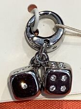 NWT Fossil Brand Silvertone Steel & Clear Rhinestones Pair of Duo Dice Charm