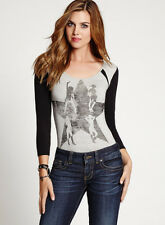 NWT GUESS 3/4 Sleeve Contrast Graphic Bodysuit Top Tee Black Grey S 4 5
