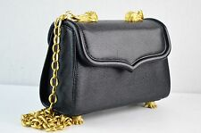 Barry Kieselstein Cord Black Alligator Chain Trophy Textured Leather Bag