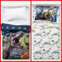 JURASSIC WORLD DINOSAUR TWIN BEDDING Reversible Comforter w/ Twin Sheet Set ~