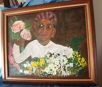 Oil Painting Haitian Woman w Flowers on Canvas Wood Frame Girard 2002