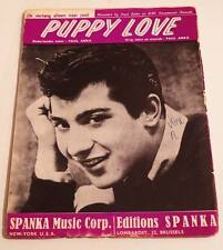 Partition vintage sheet music PAUL ANKA : Puppy Love * 60's