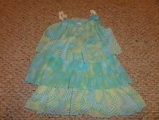 GIRLS TURQUOISE & GREEN RUFFLE TOP BY D-SIGNED SIZE MEDIUM