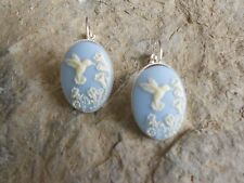 HUMMINGBIRD CAMEO FRENCH EARRINGS!!! (CREAM ON SKY BLUE) WONDERFUL QUALITY!!!!