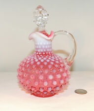 Fenton Cranberry Hobnail Cruet with clear stopper over 4 inches lip high  (4604)