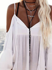 Womens Off Shoulder Chiffon Loose Tops Summer Short Sleeve Casual T Shirt Blouse