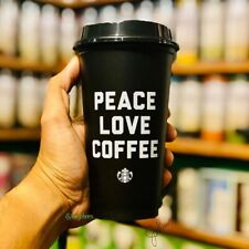 Starbucks Peace Love Coffee BLACK Reusable Travel Mug Cup Tumbler Plastic LTD ED