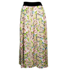 LuLaRoe Lucy Maxi Skirt XXS Beige Pink Floral Roses Full Length Pull-On Lined
