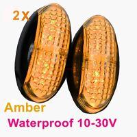 2X 12V 24V Amber ABS CLEARANCE LIGHTS SIDE MARKER 4 LED for TRAILER TRUCK BUS