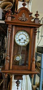 Vintage Antique Germany DEP R. Roth Wall Striking Vienna Clock Walnut Case