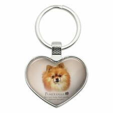 Pomeranian Dog Breed Heart Love Metal Keychain Key Chain Ring