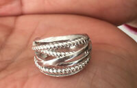 Designer Inspired Wide CrossOver Sterling Silver Cable Band Ring Size 6