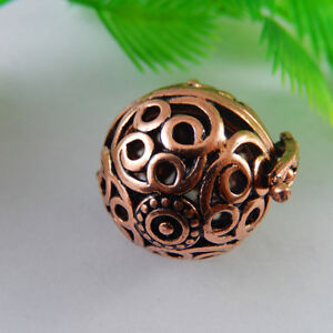 1pcs Red Copper Brass Hollowed Four Holes Lockets Pendants Charms Jewelry Crafts