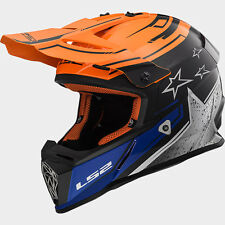 CASCO HELMET CROSS MX437 FAST CORE MATT BLACK GLOSS ORANGE LS2 SIZE M