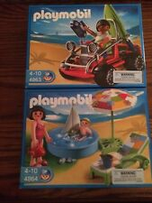 Playmobil 4863 Beach Dune Buggy w/ Surfer & Board & 4864 Kids Wading Pool New!