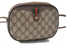 Authentic GUCCI Web Sherry Line Shoulder Bag GG PVC Leather Brown A7131