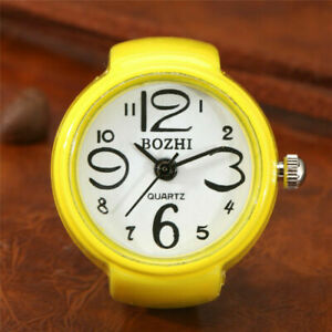 8 Colors Alloy Elastic Band Ring Watch Finger Women Quartz Analog Wristwatch