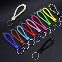 1PC Keychain Leather Rope Strap Weave Keyring Key Chain Ring Key Fob Gift