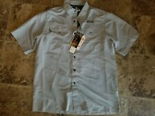 NWT Mens Habit River Guide Shirt Dusk Gray Button Shirt Medium M UPF