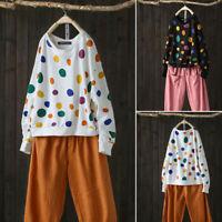 Women Long Sleeve Polka Dot Casual Jumper Shirt Sweats Tops Oversize Blouse Plus