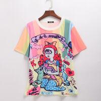 Harajuku Lady Character Girls Printing Fashion Cartoon Pattern Loose T-Shirt