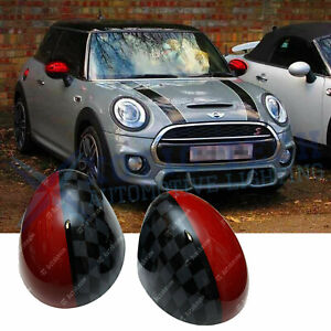 JCW Red Black Side View Mirror Covers Caps For MINI Cooper F56 F55 F54 F57