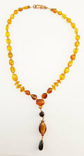"Amber Necklace with Art Glass Bead Pendant 19"" Length Genuine Light Amber J24A"