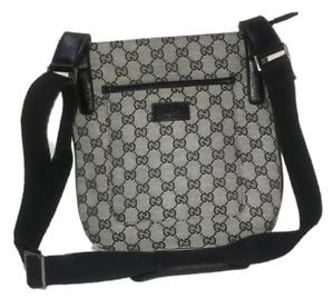GUCCI GG Cross Body Shoulder Bag Purse Canvas Leather