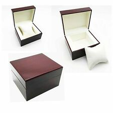 Red Wood Automatic Watch Storage Case Box Wristwatch Wooden Men Women New Gift
