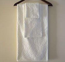 NEW VICTORIAN ELEGANCE 3PC SET BONE WHITE FLORAL BATH+HAND TOWEL+WASH CLOTH