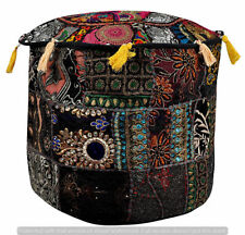 New Indian Handmade Patchwork Round Pouf Cover Home Decor Handmade Ottoman Pouf