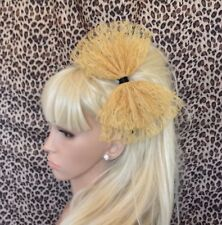 NEW BIG GOLD LACE BOW ALICE HAIR HEAD BAND 80s RETRO PARTY FANCY DRESS ALICEBAND